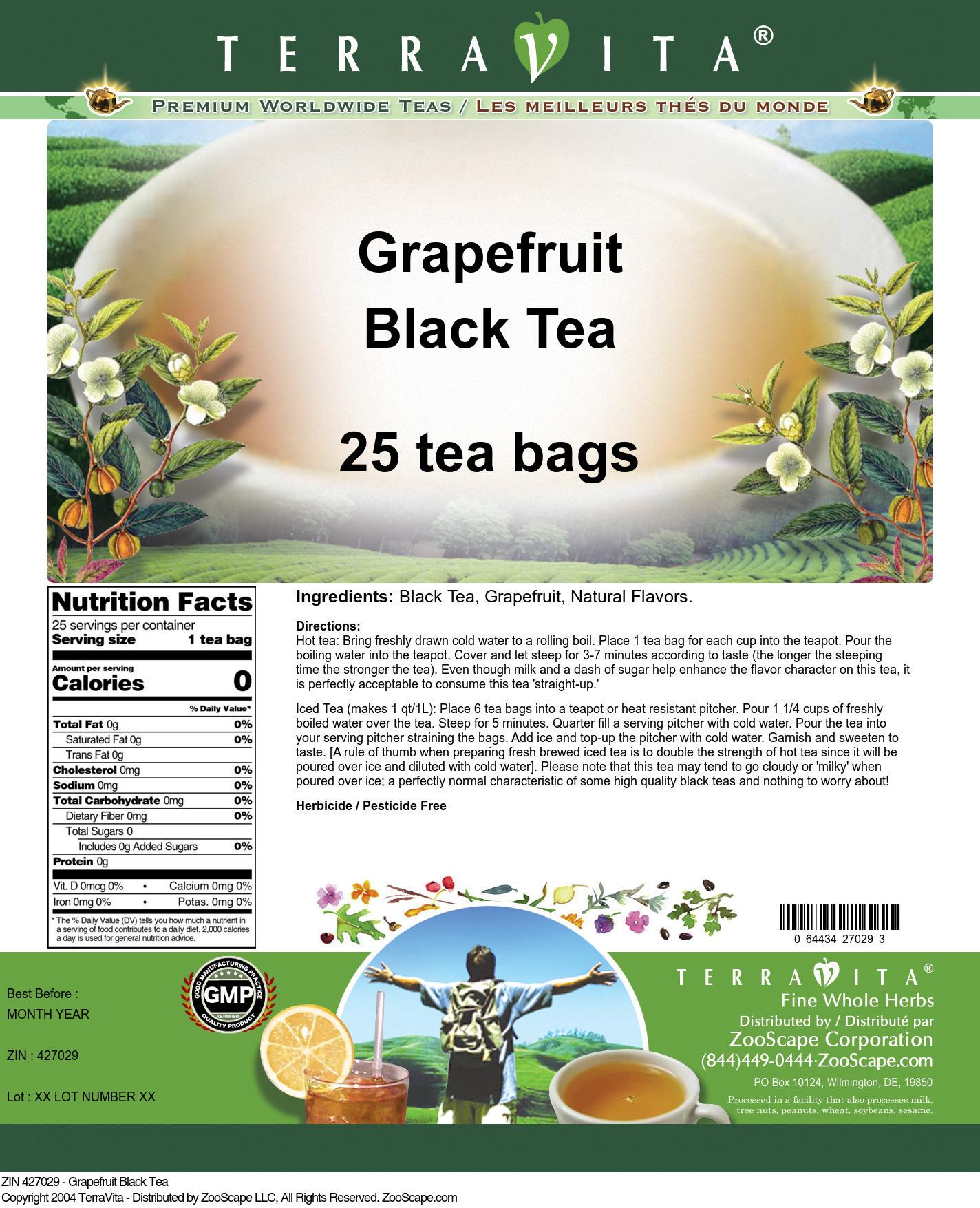 Grapefruit Black Tea - Label