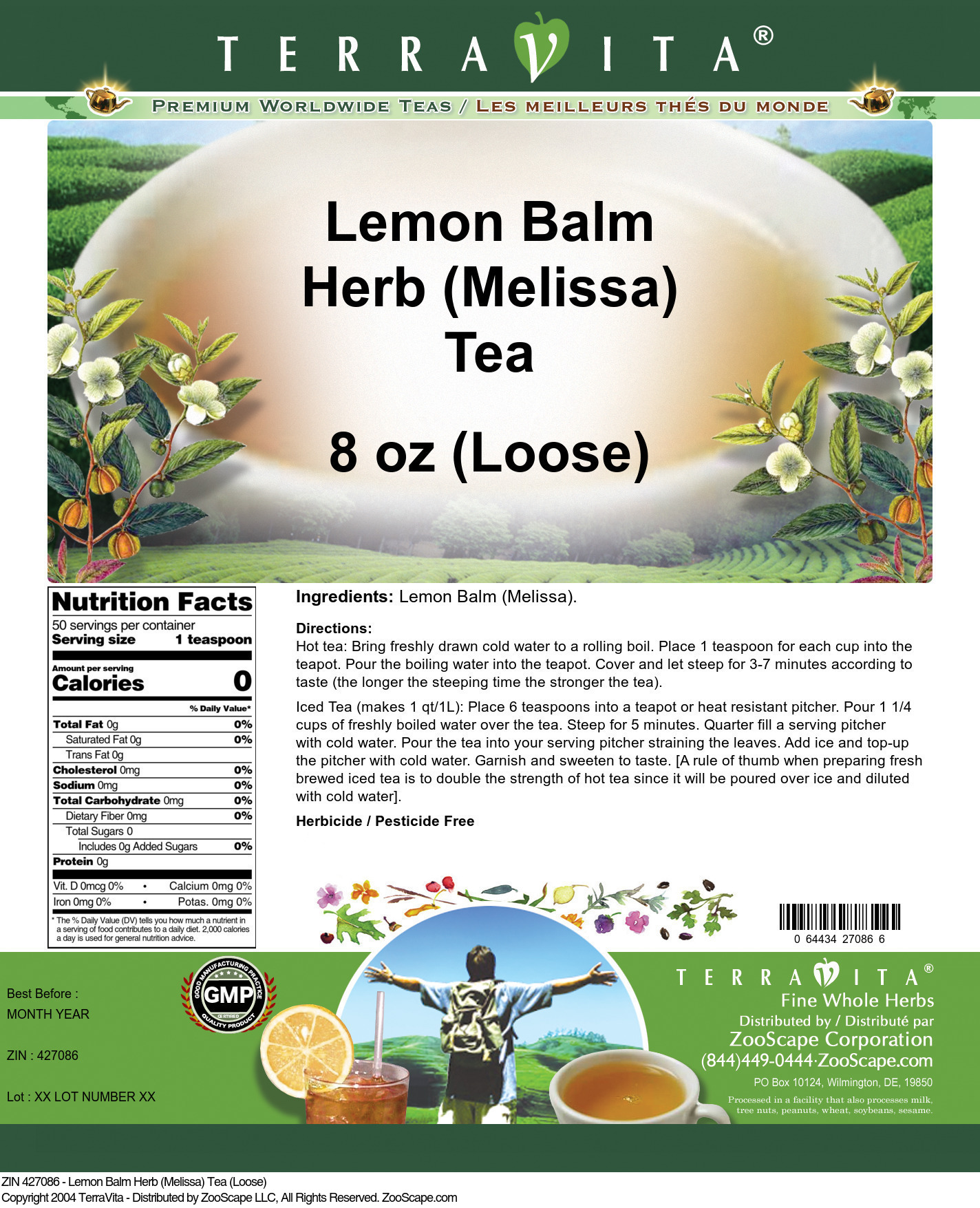 Lemon Balm Herb (Melissa) Tea (Loose) - Label