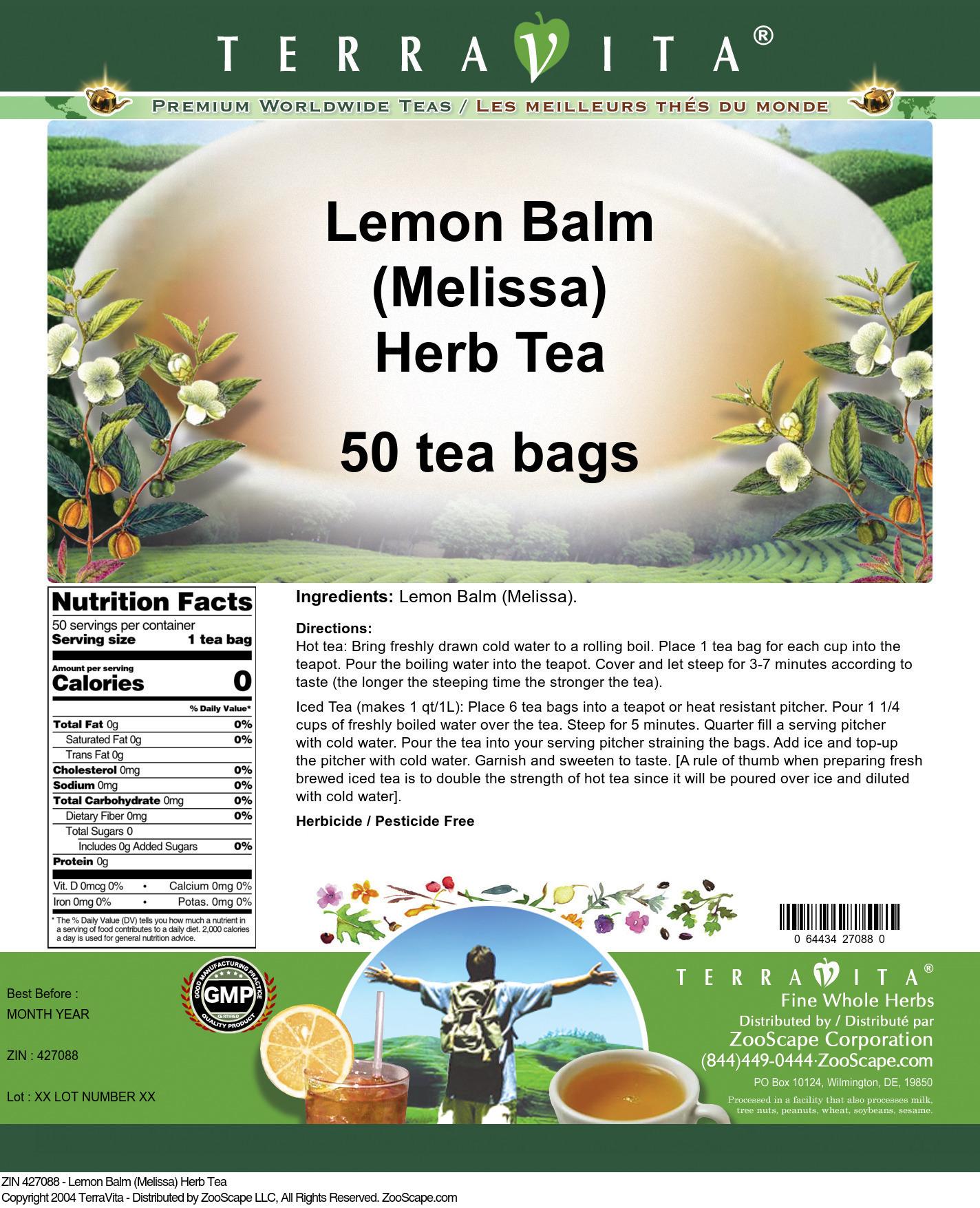 Lemon Balm (Melissa) Herb Tea - Label