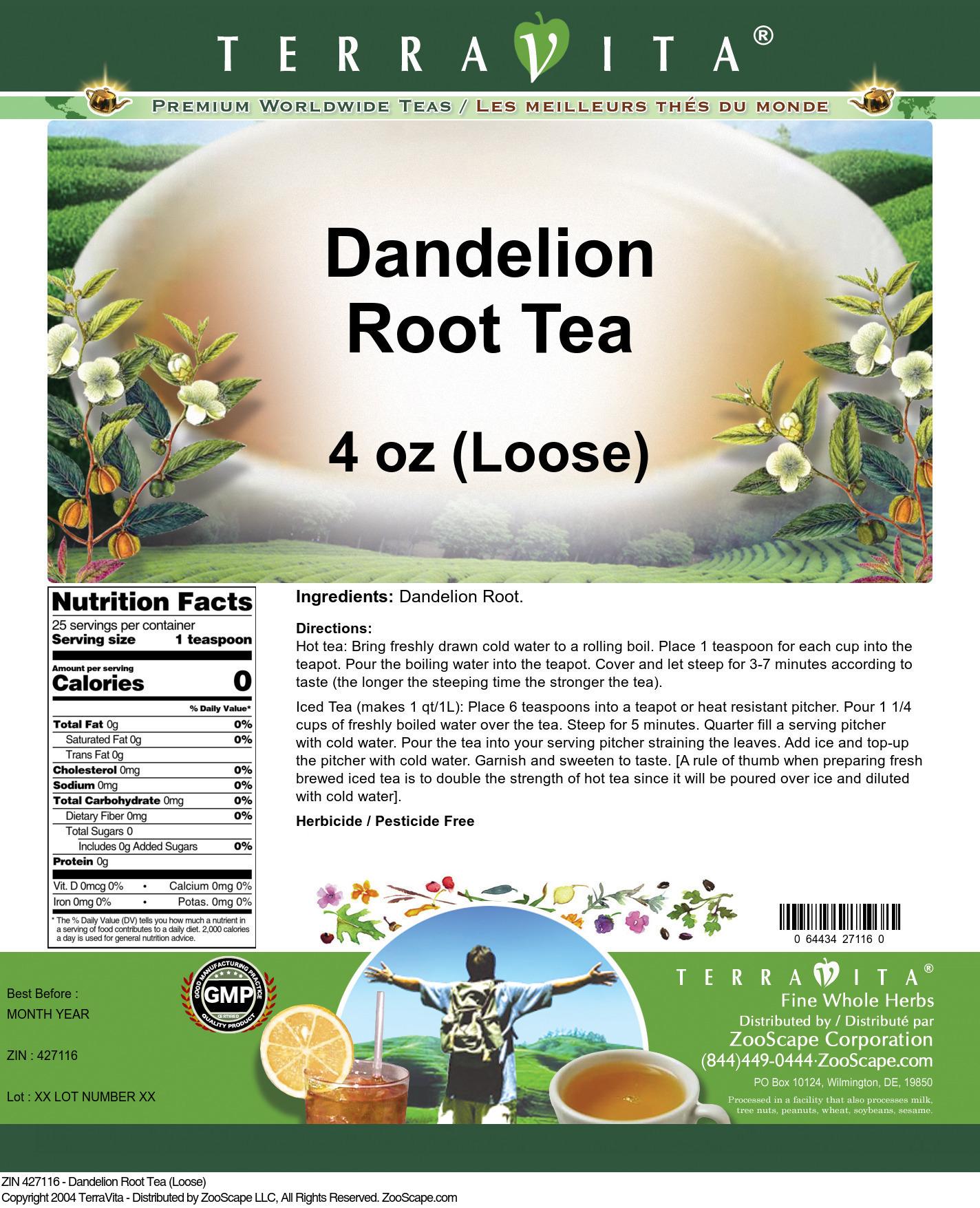 Dandelion Root Tea (Loose) - Label