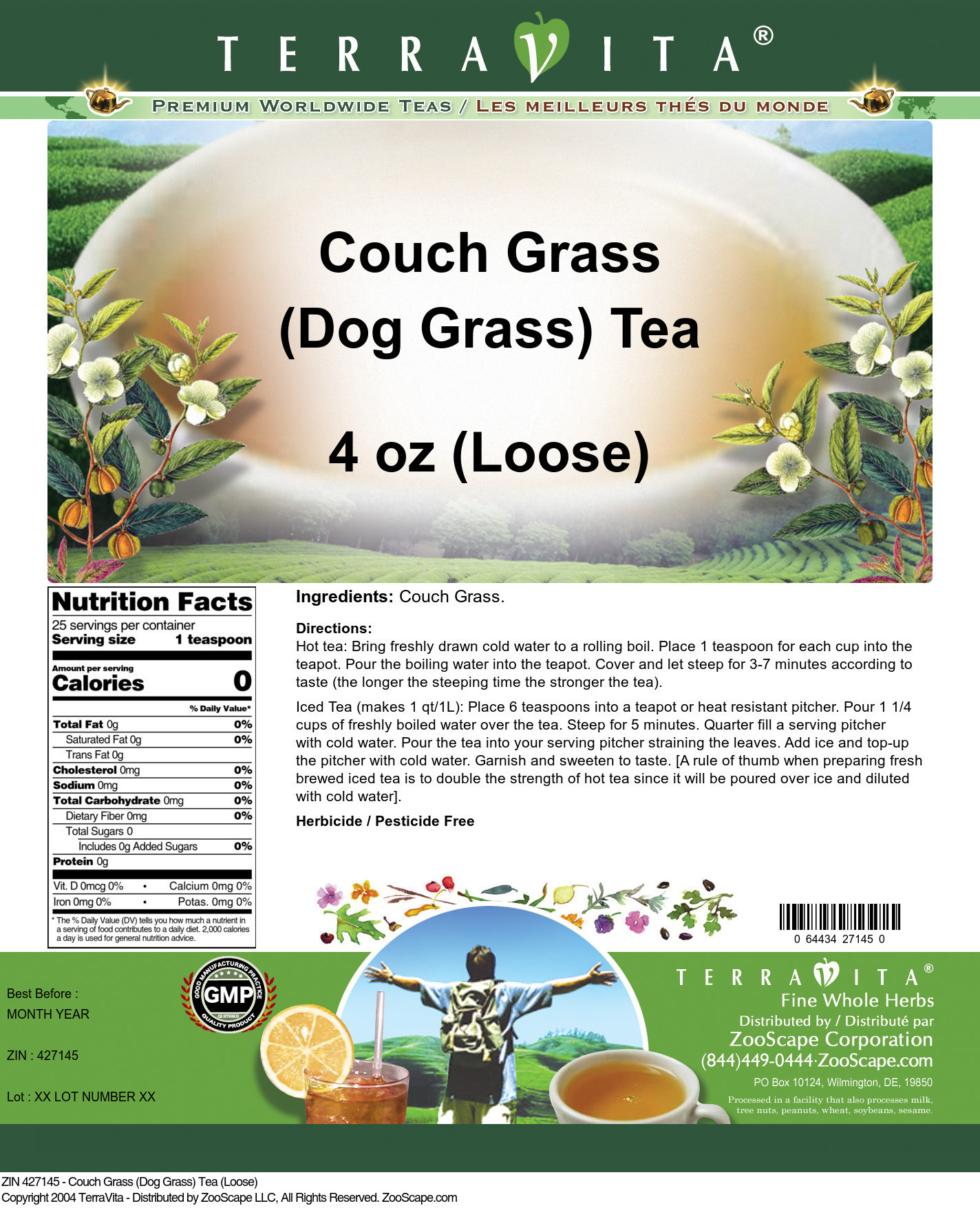 Couch Grass (Dog Grass) Tea (Loose) - Label
