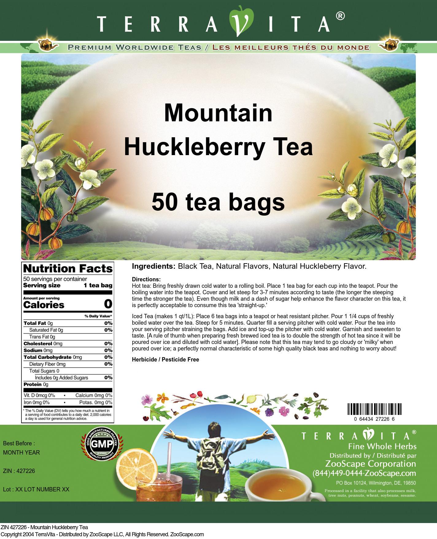 Mountain Huckleberry Tea - Label
