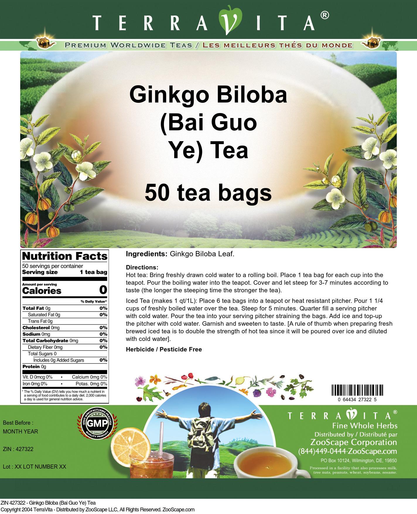 Ginkgo Biloba (Bai Guo Ye) Tea - Label