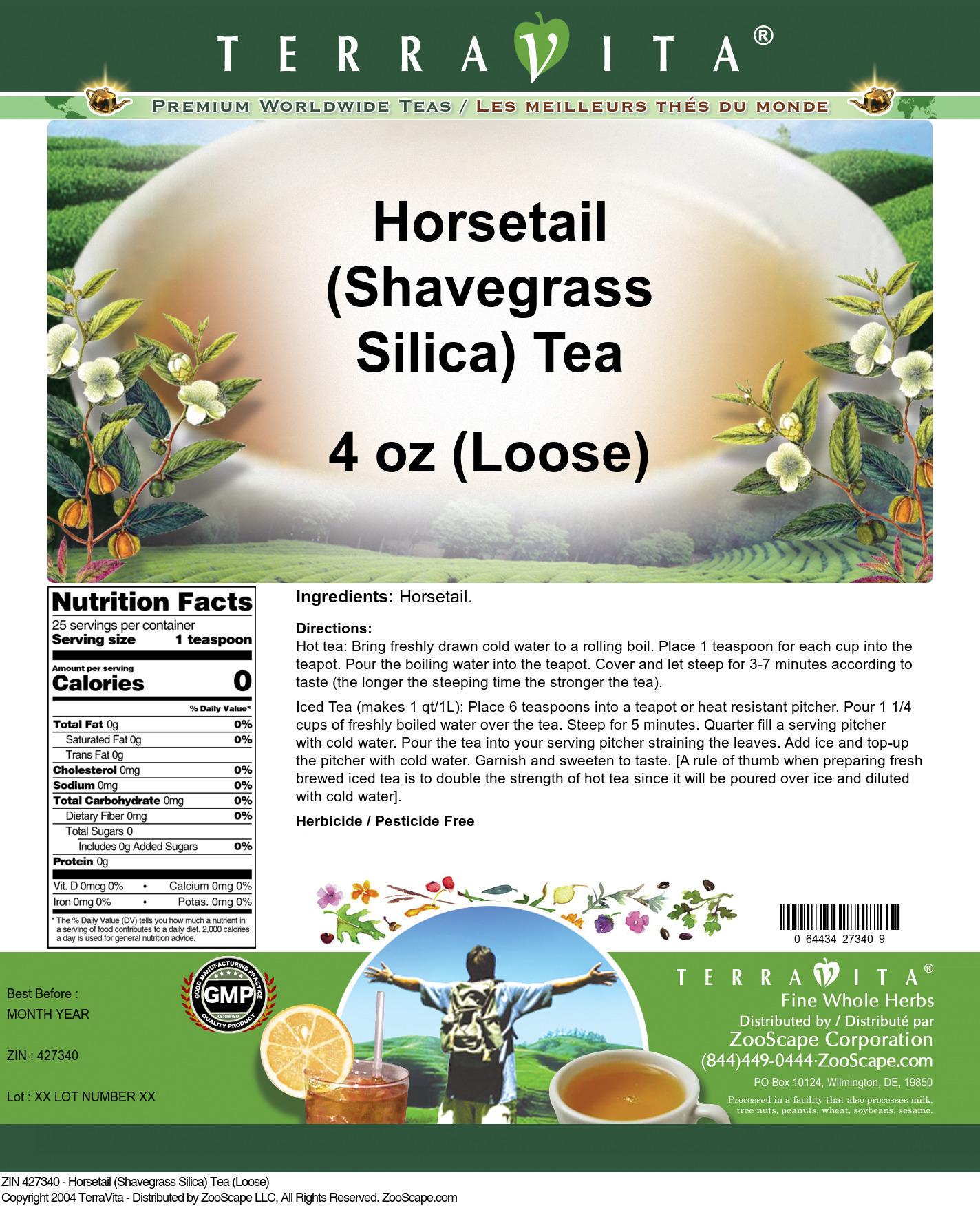Horsetail (Shavegrass Silica) Tea (Loose) - Label