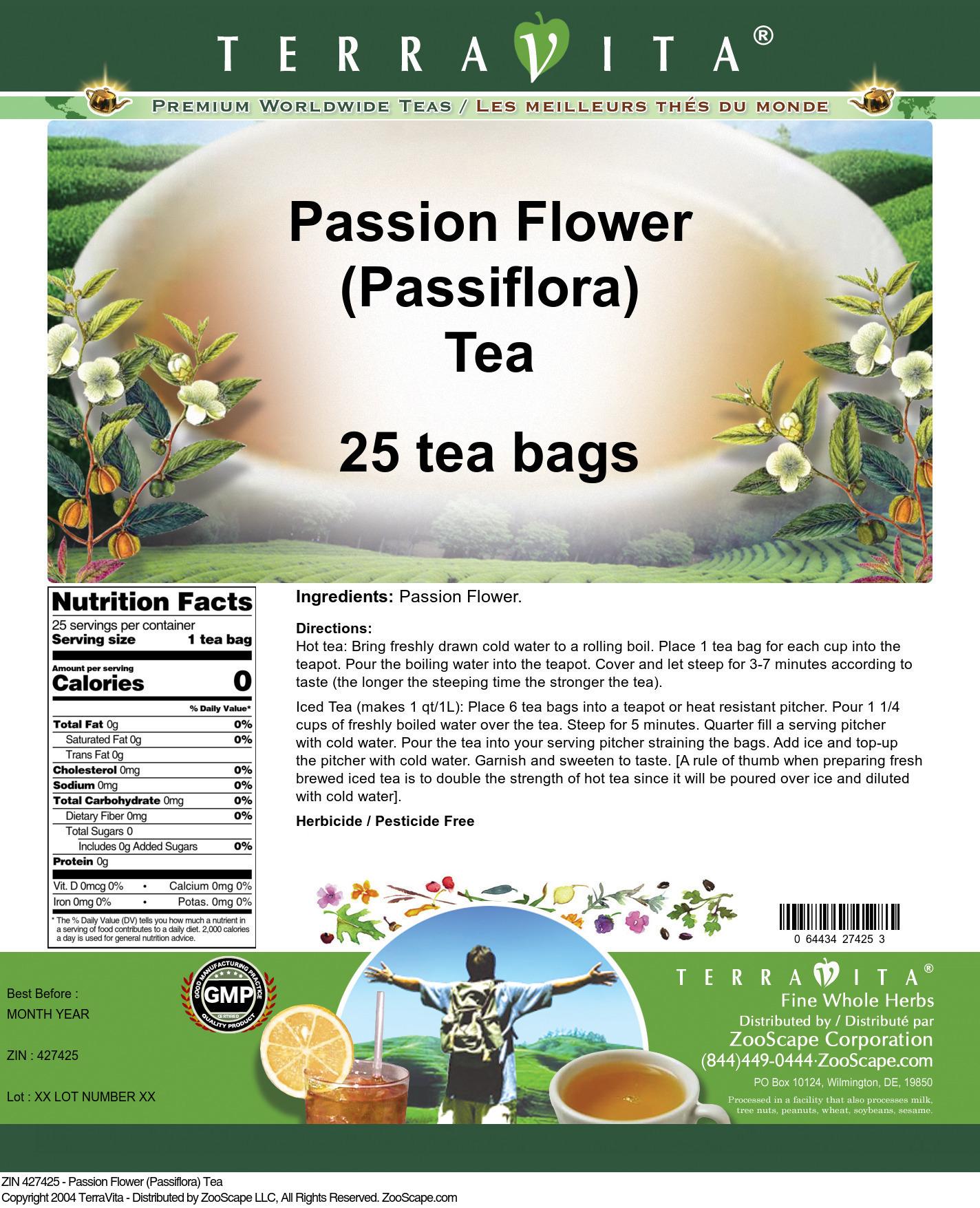 Passion Flower (Passiflora) Tea - Label