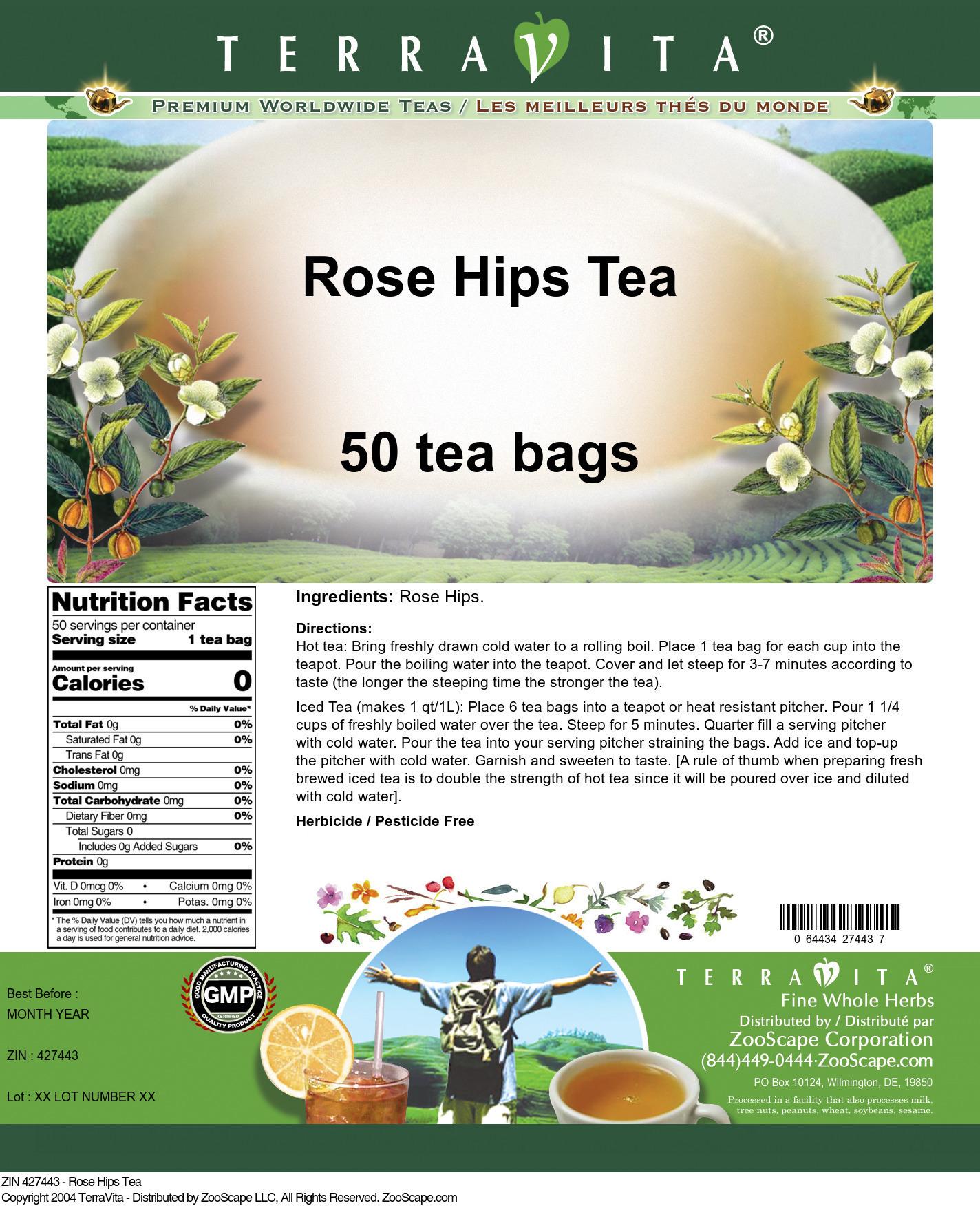 Rose Hips Tea - Label