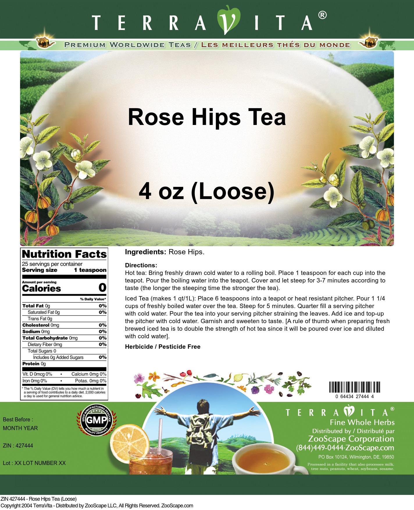 Rose Hips Tea (Loose) - Label