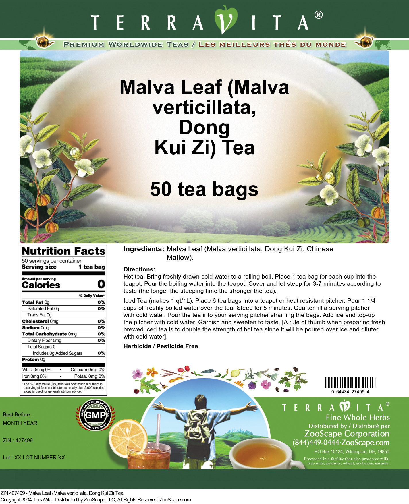 Malva Leaf (Malva verticillata, Dong Kui Zi) Tea - Label