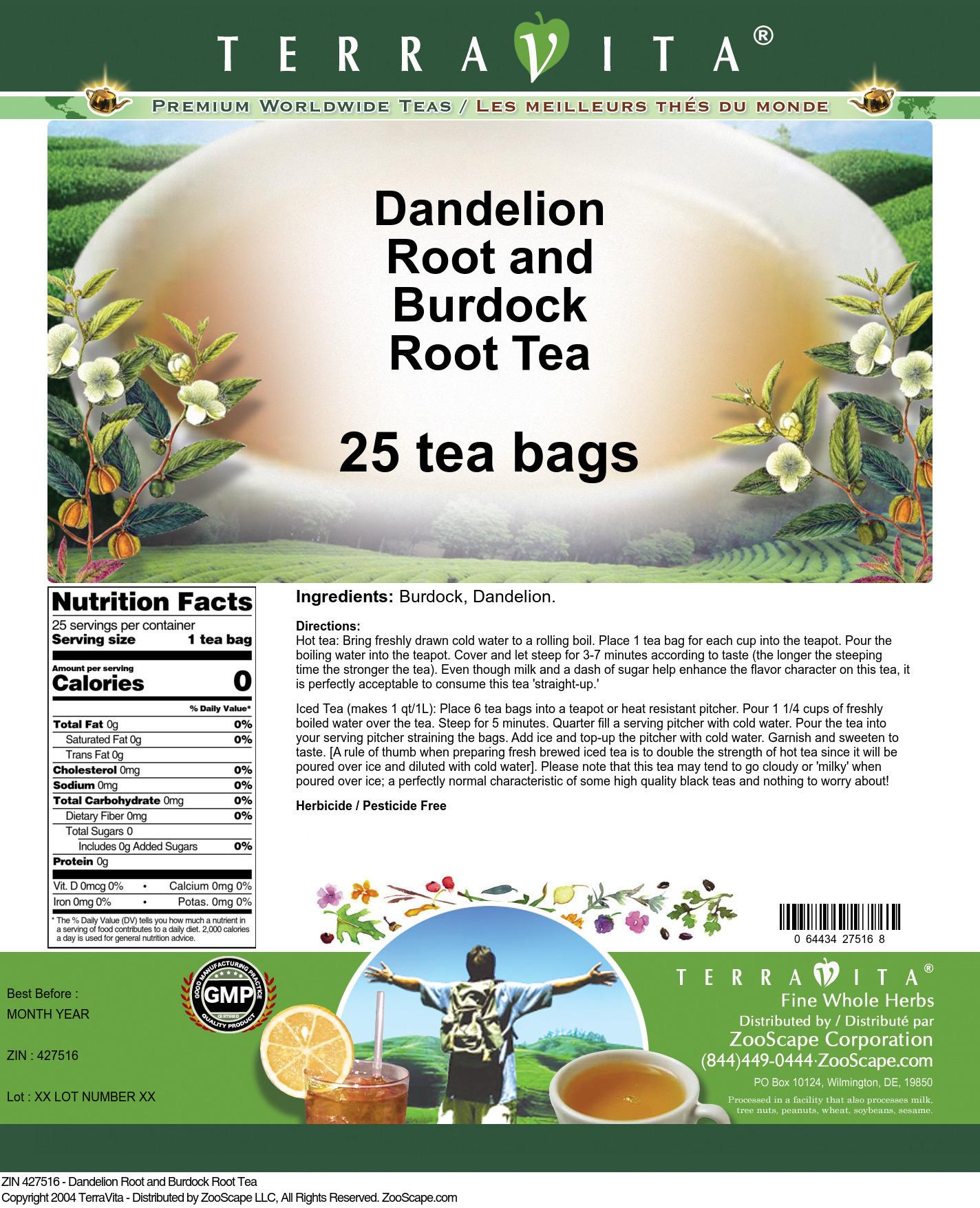 Dandelion Root and Burdock Root Tea - Label