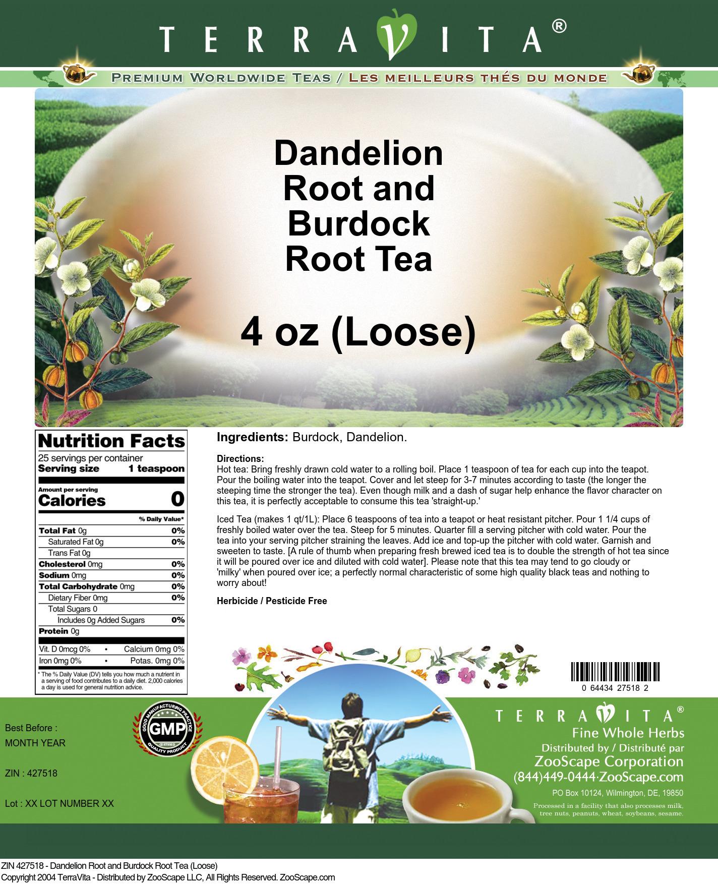 Dandelion Root and Burdock Root Tea (Loose) - Label