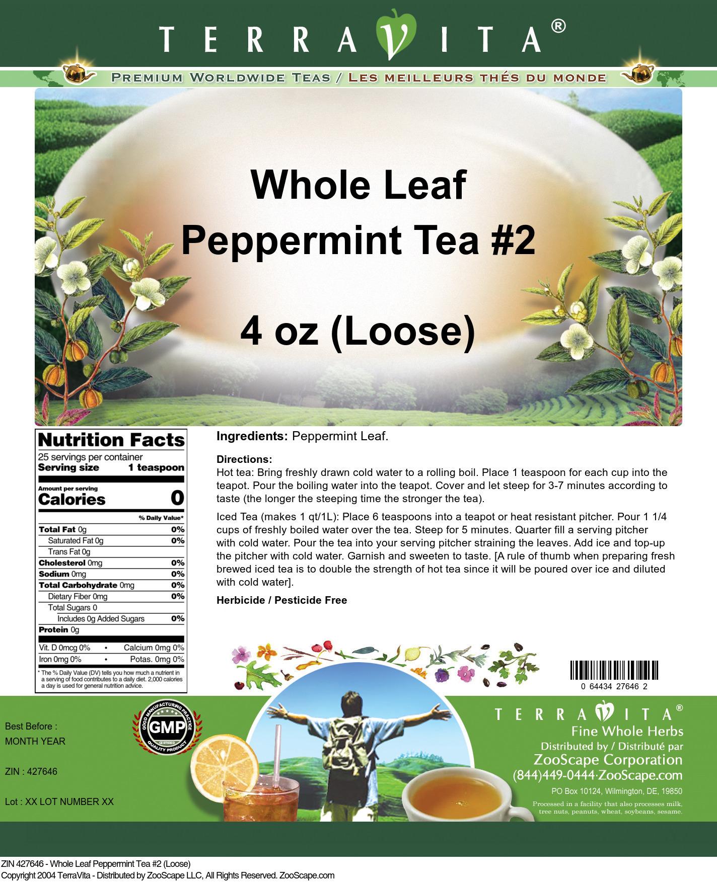 Whole Leaf Peppermint Tea #2 (Loose)