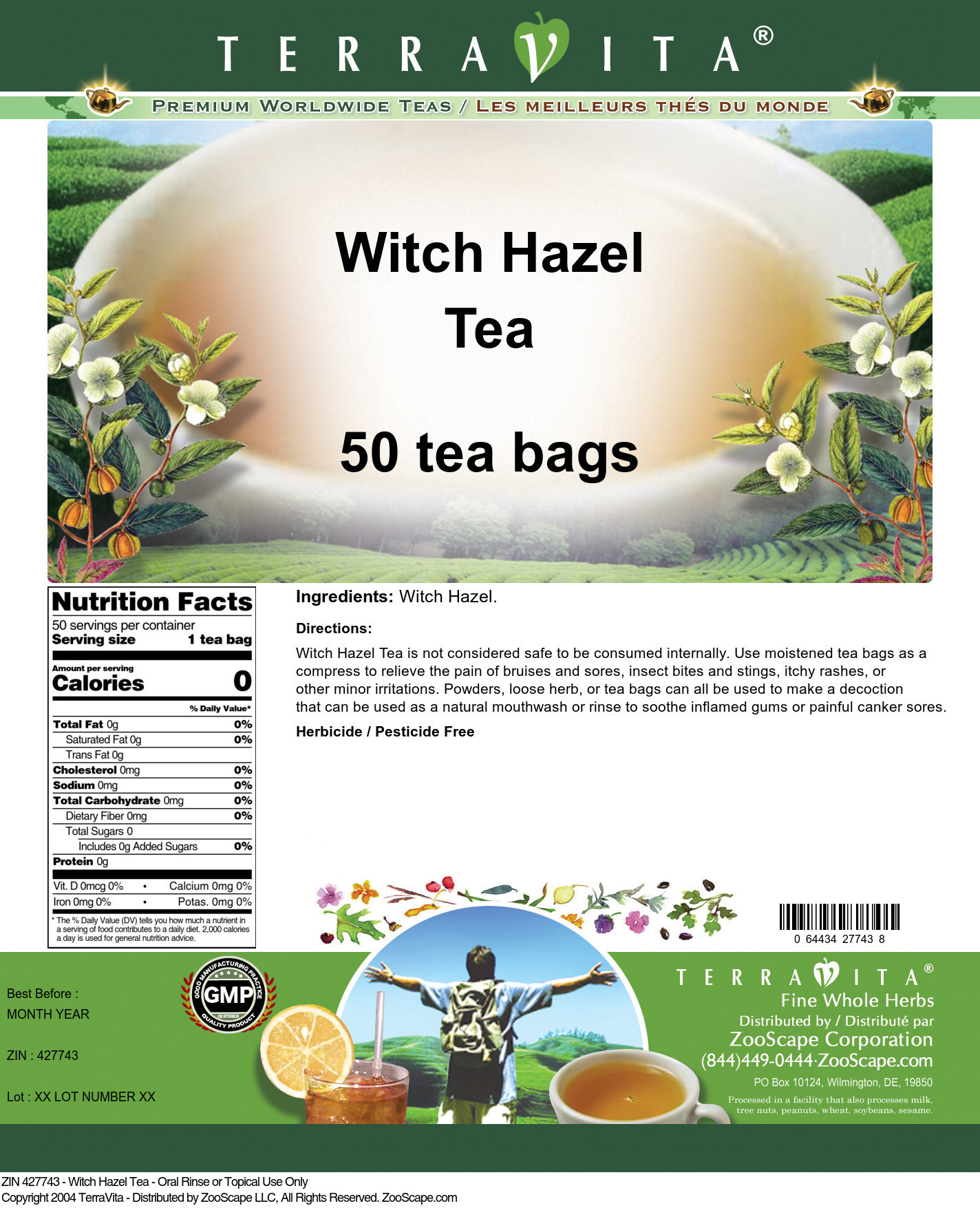 Witch Hazel Tea - Oral Rinse or Topical Use Only