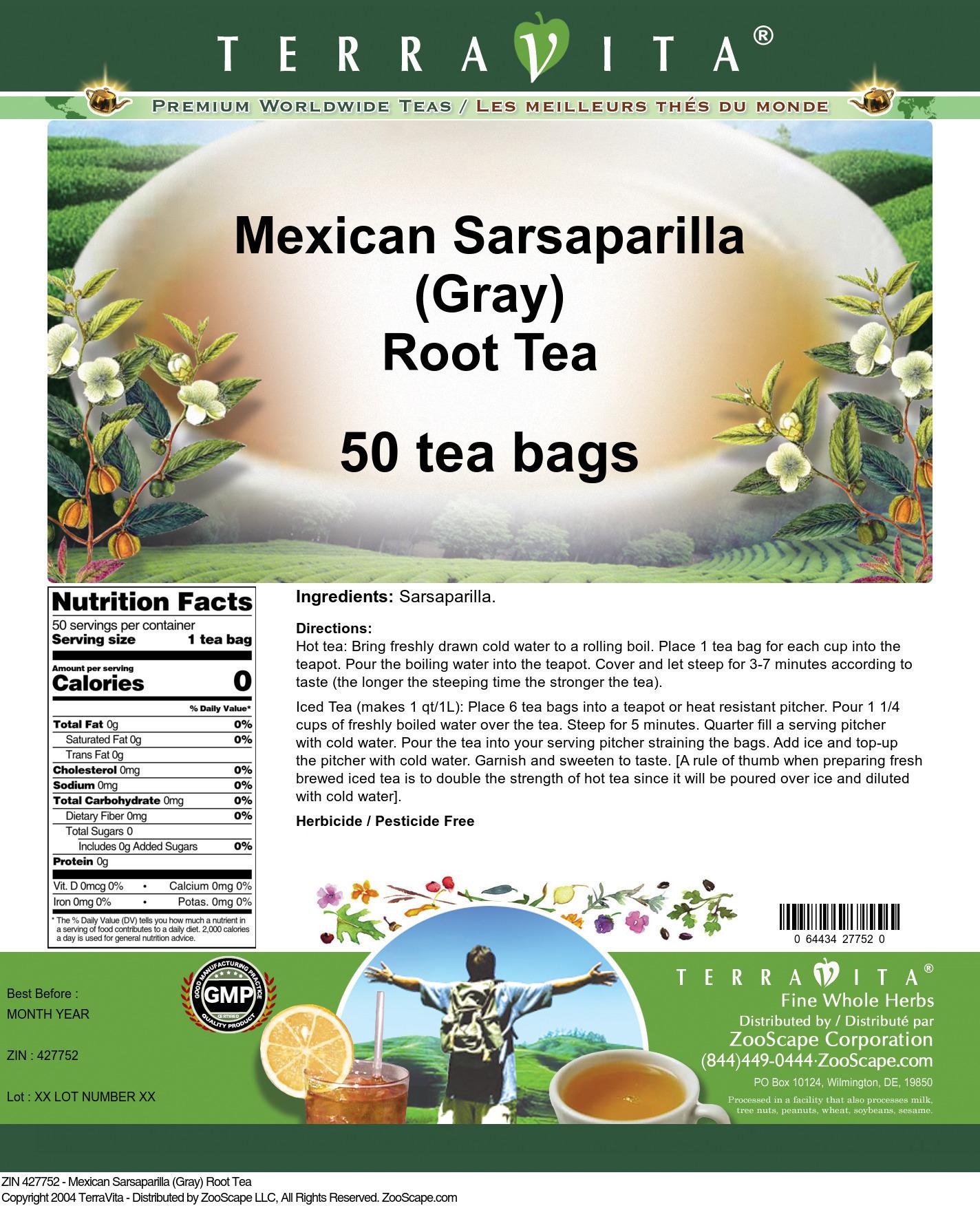 Mexican Sarsaparilla (Gray) Root Tea