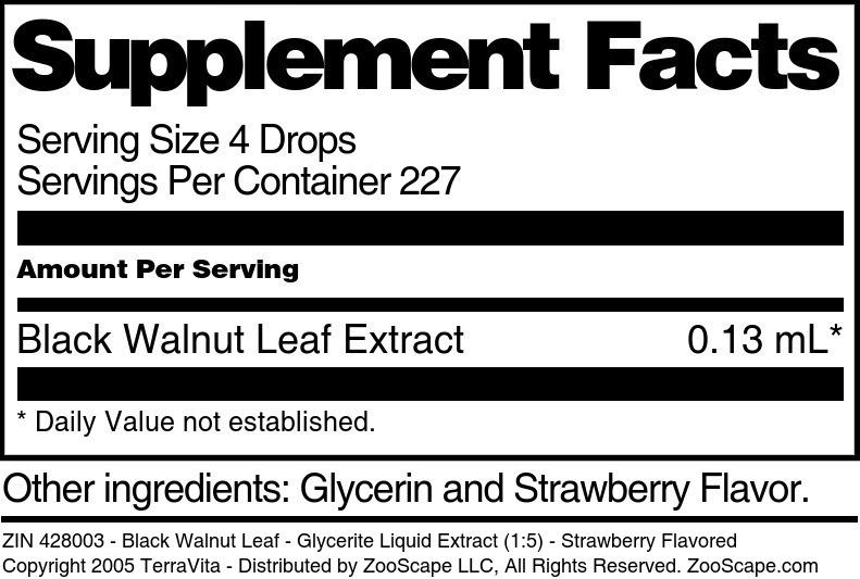 Black Walnut Leaf - Glycerite Liquid Extract (1:5)