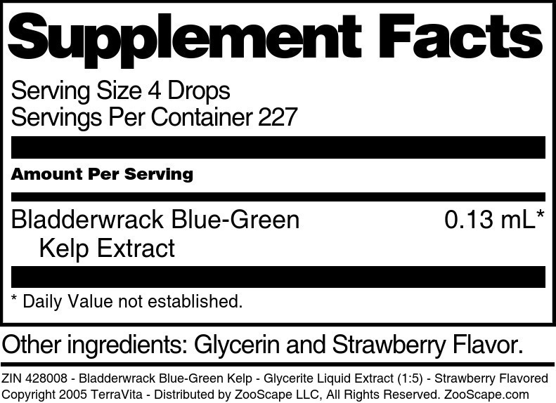 Bladderwrack Blue-Green Kelp - Glycerite Liquid Extract (1:5)
