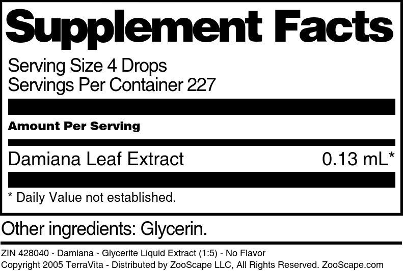 Damiana - Glycerite Liquid Extract (1:5)