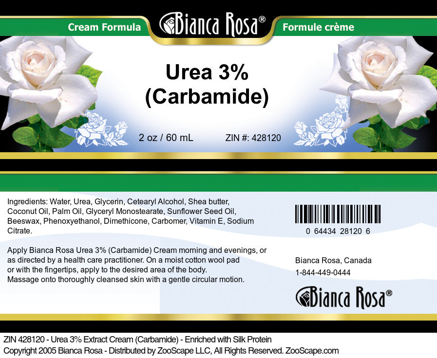 Urea 3% Cream (Carbamide) - Enriched with Silk Protein - Label