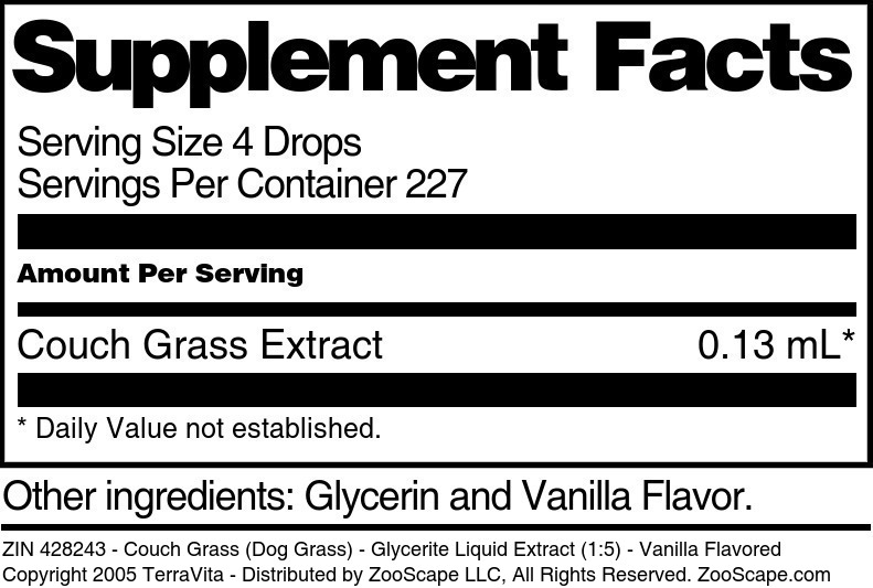 Couch Grass (Dog Grass) - Glycerite Liquid Extract (1:5)