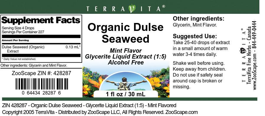 Organic Dulse Seaweed - Glycerite Liquid Extract (1:5)