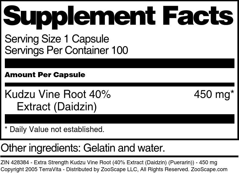 Extra Strength Kudzu Vine Root 40% Extract (Daidzin) (Puerarin) - 450 mg