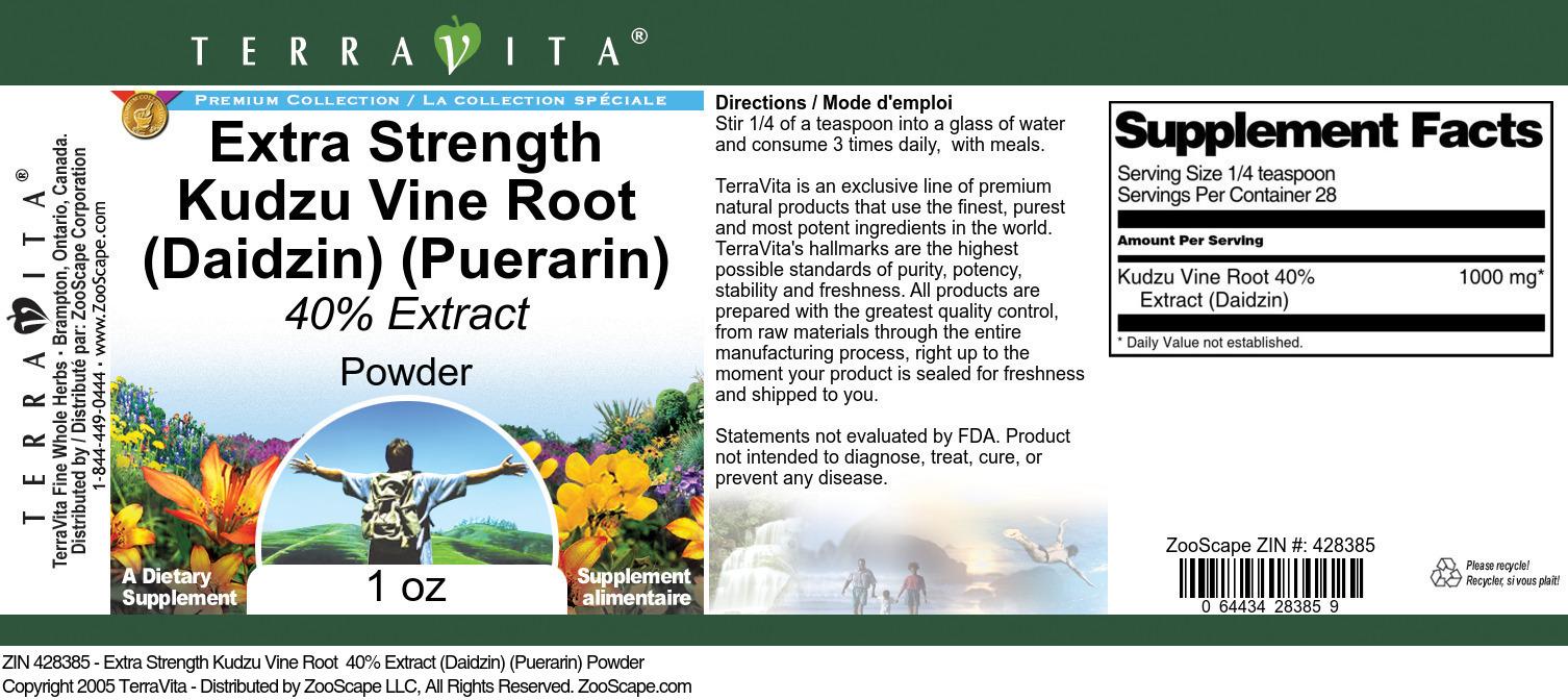 Extra Strength Kudzu Vine Root 40% Extract (Daidzin) (Puerarin) Powder