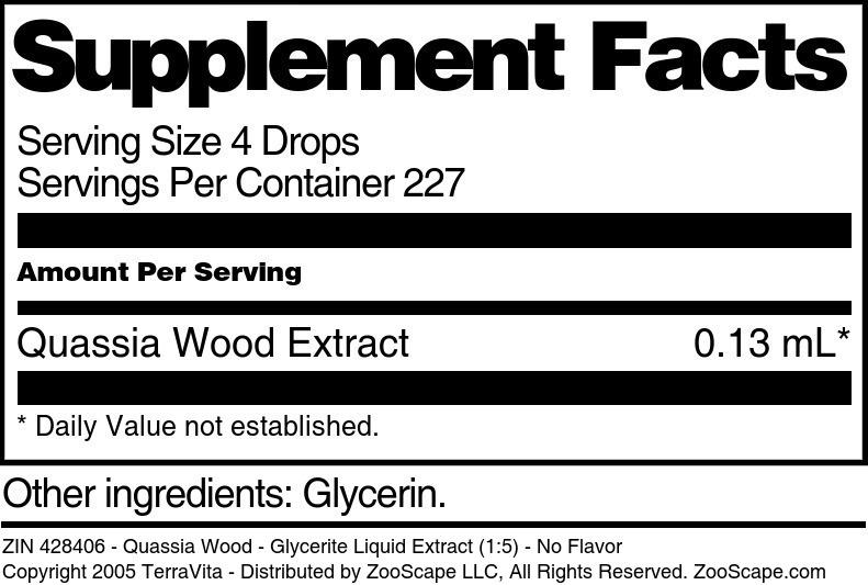 Quassia Wood - Glycerite Liquid Extract (1:5)