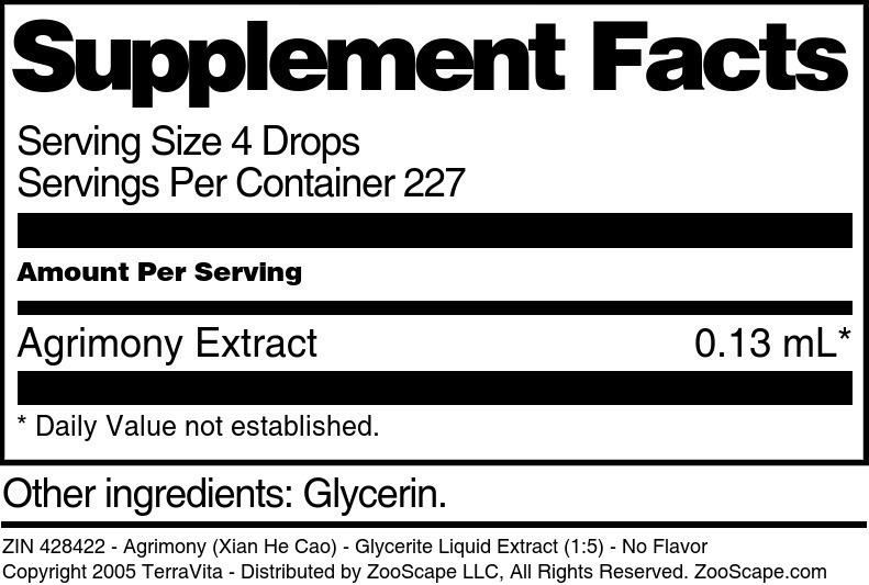 Agrimony (Xian He Cao) - Glycerite Liquid Extract (1:5)