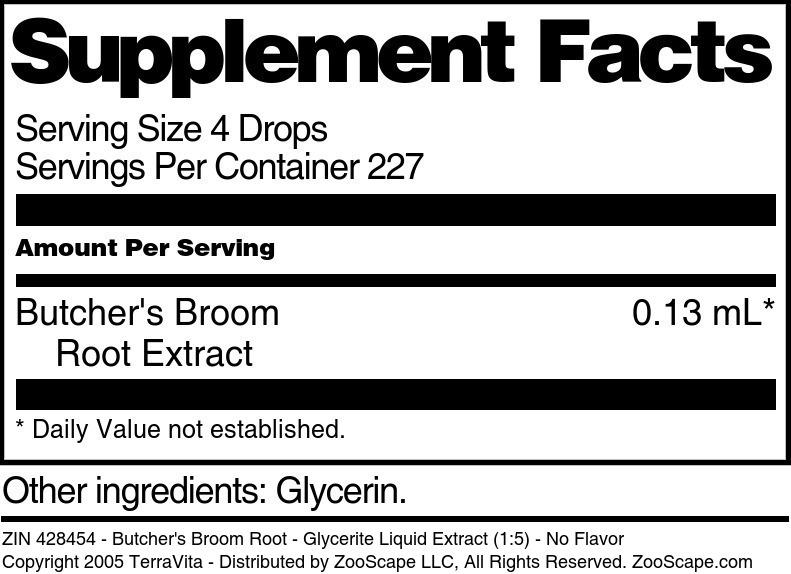 Butcher's Broom Root - Glycerite Liquid Extract (1:5)
