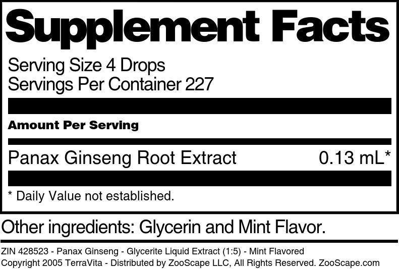 Panax Ginseng - Glycerite Liquid Extract (1:5)