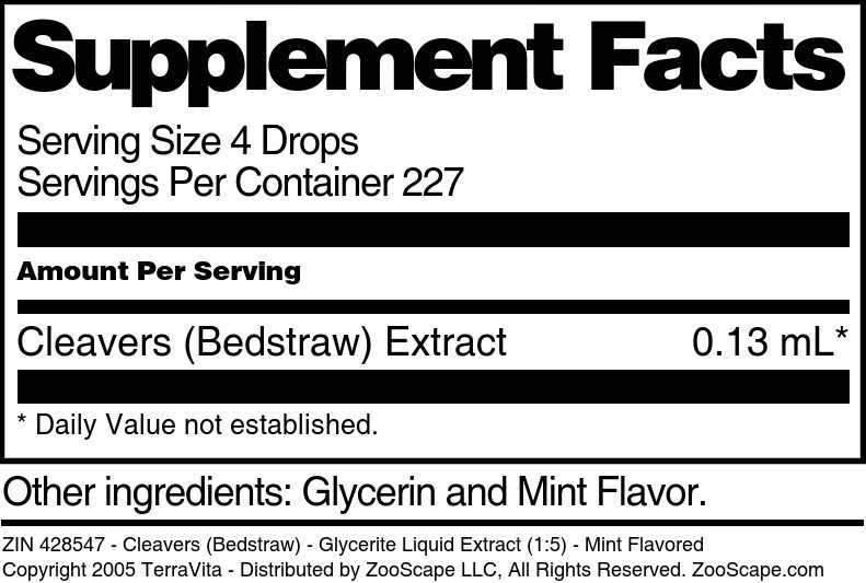 Cleavers (Bedstraw) - Glycerite Liquid Extract (1:5)