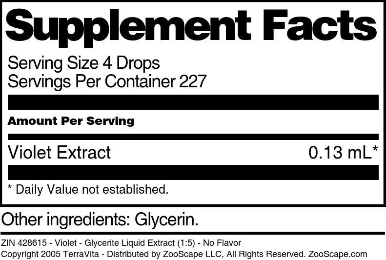 Violet - Glycerite Liquid Extract (1:5) - No Flavor - Label