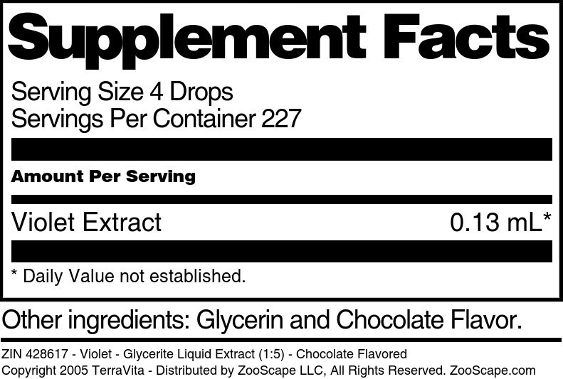 Violet - Glycerite Liquid Extract (1:5) - Chocolate Flavored - Label