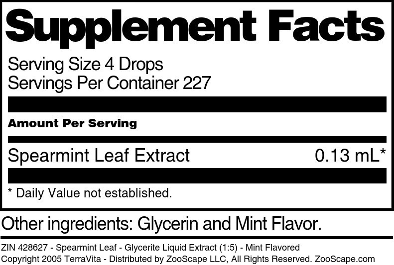 Spearmint Leaf - Glycerite Liquid Extract (1:5)