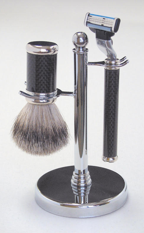 Shaving Brush Set - Polished Chrome - 3 Pieces