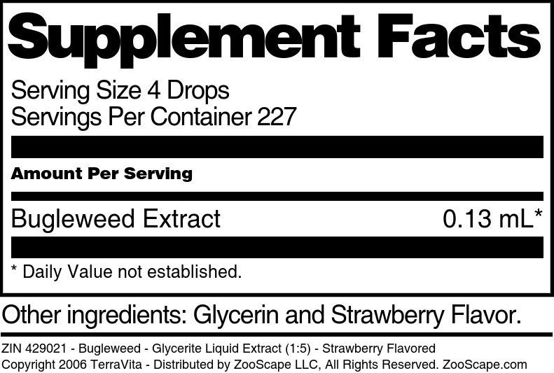 Bugleweed - Glycerite Liquid Extract (1:5) - Strawberry Flavored - Label