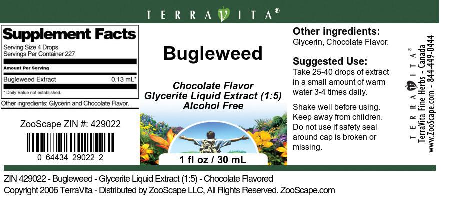 Bugleweed - Glycerite Liquid Extract (1:5) - Chocolate Flavored - Label