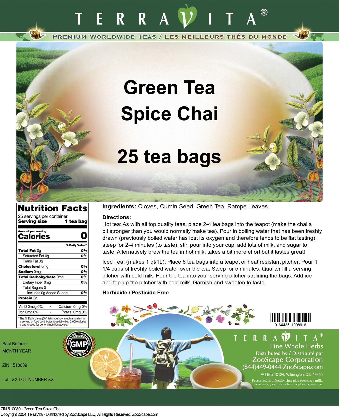 Green Tea Spice Chai - Label