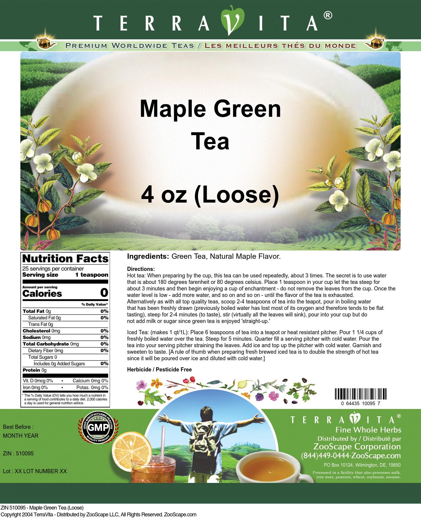 Maple Green Tea (Loose) - Label