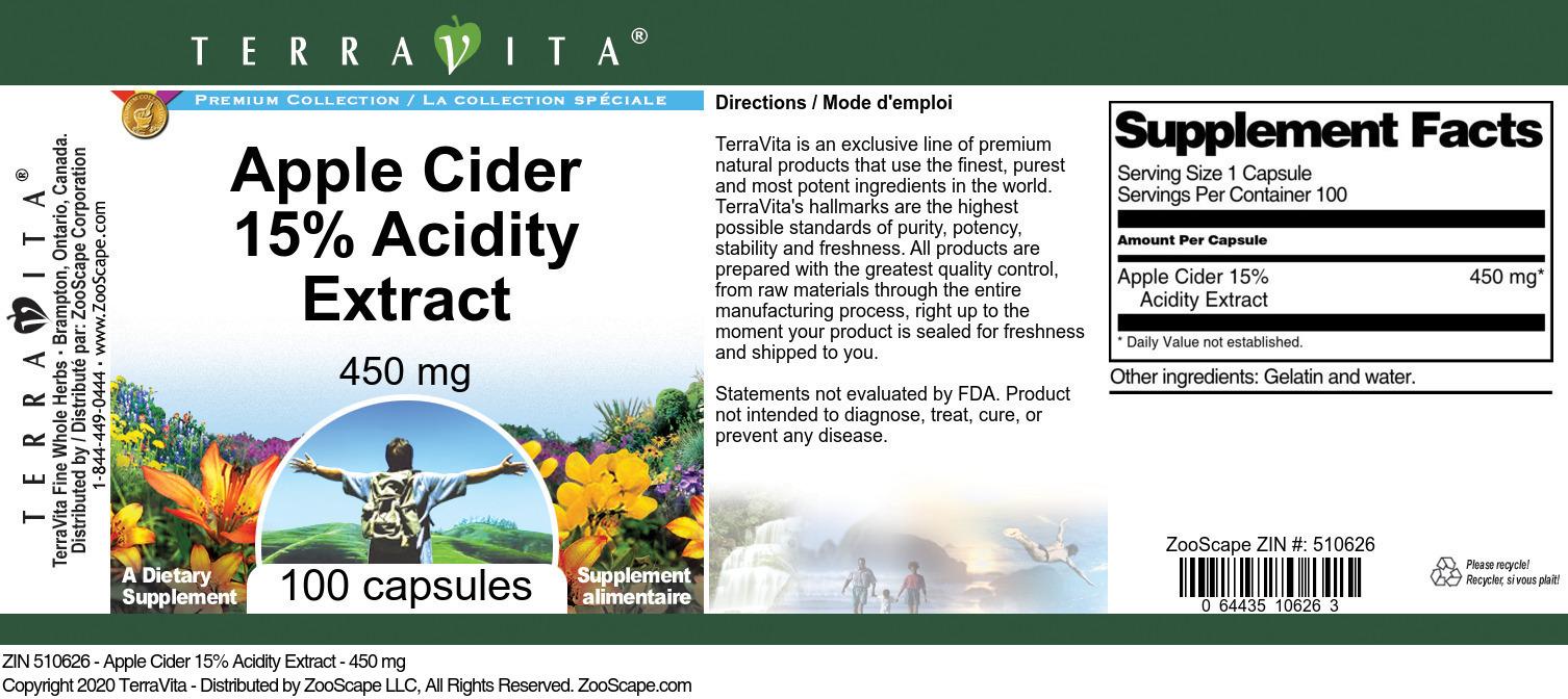 Apple Cider 15% Acidity Extract - 450 mg