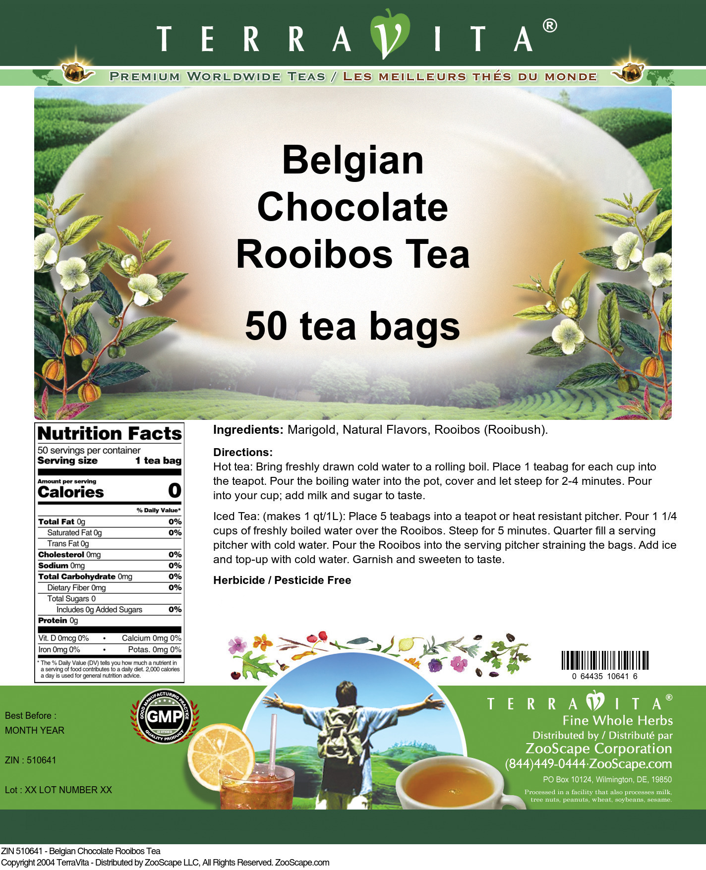 Belgian Chocolate Rooibos Tea - Label