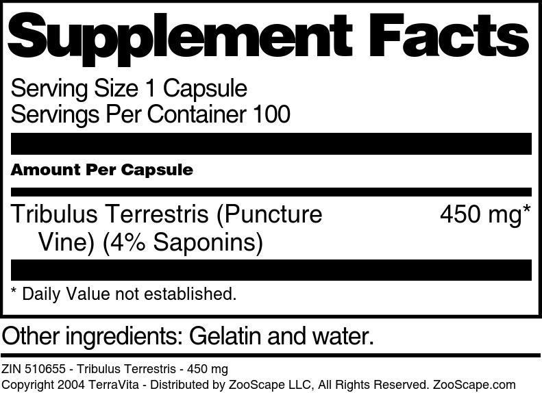 Tribulus Terrestris - 450 mg