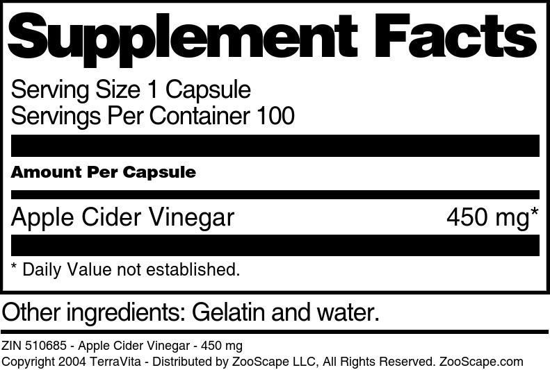 Apple Cider Vinegar - 450 mg