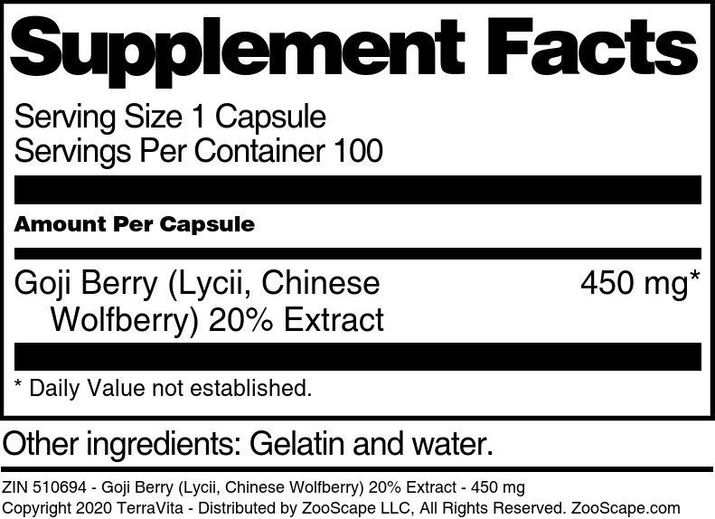Goji Berry <BR>(Lycii, Chinese Wolfberry) 20% Extract