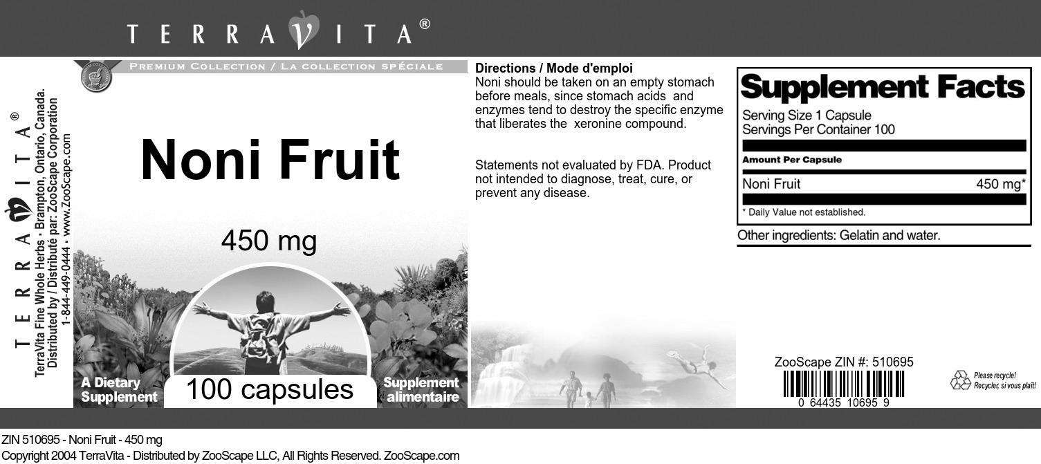Noni Fruit - 450 mg - Label