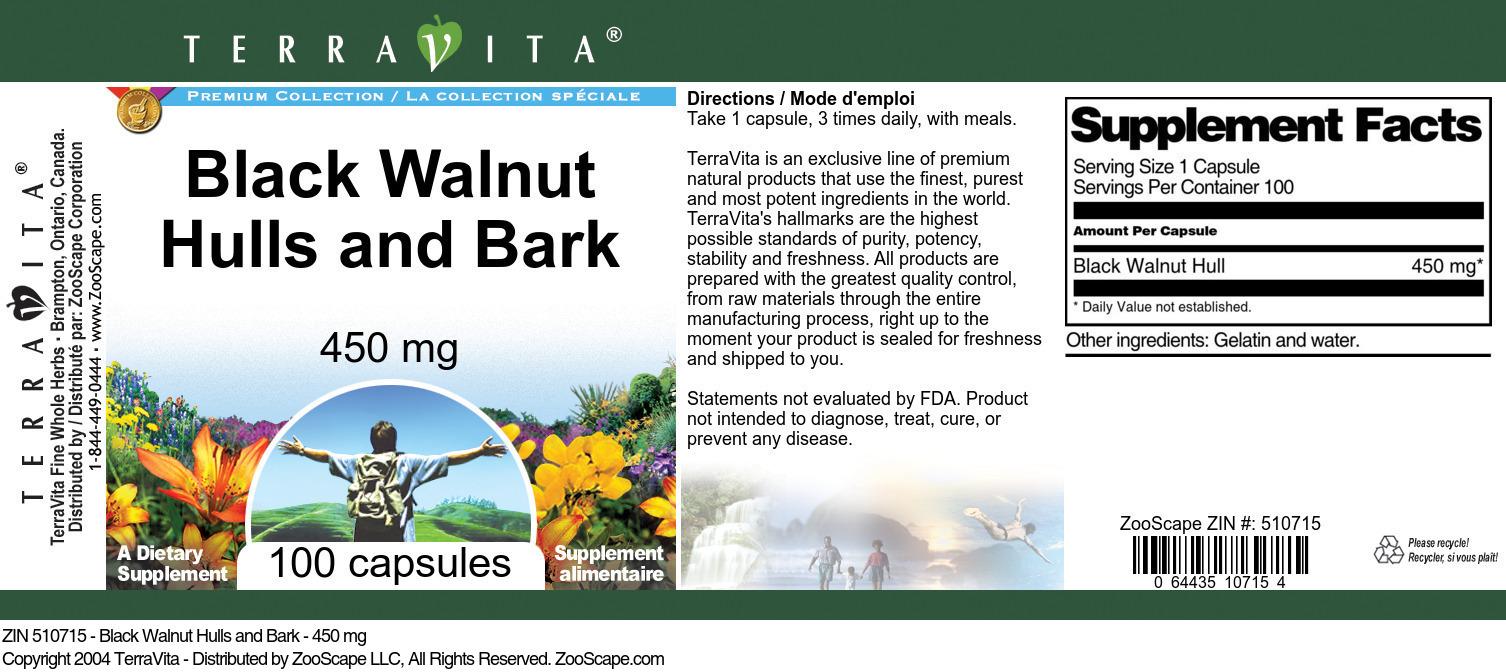 Black Walnut Hulls and Bark - 450 mg