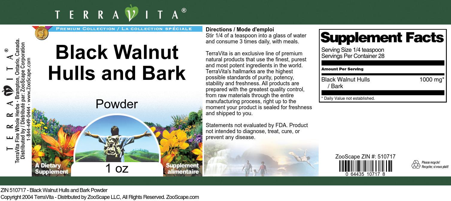 Black Walnut Hulls and Bark Powder