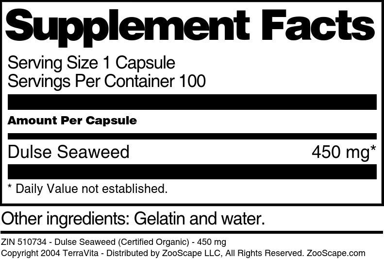 Dulse Seaweed (Certified Organic) - 450 mg