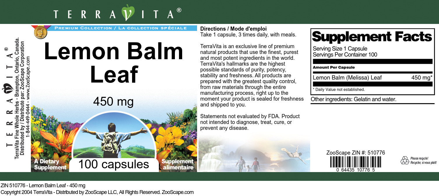 Lemon Balm Leaf - 450 mg - Label