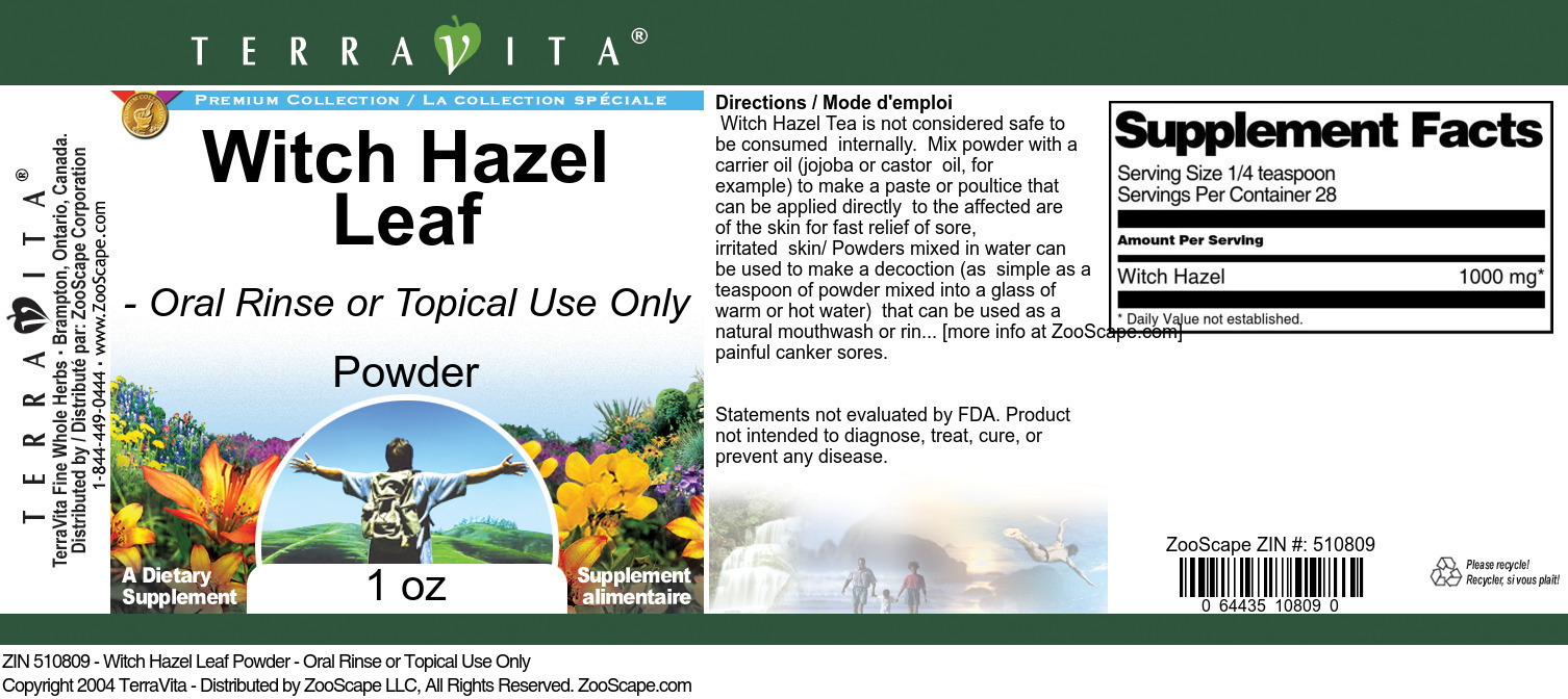 Witch Hazel Leaf Powder - Oral Rinse or Topical Use Only