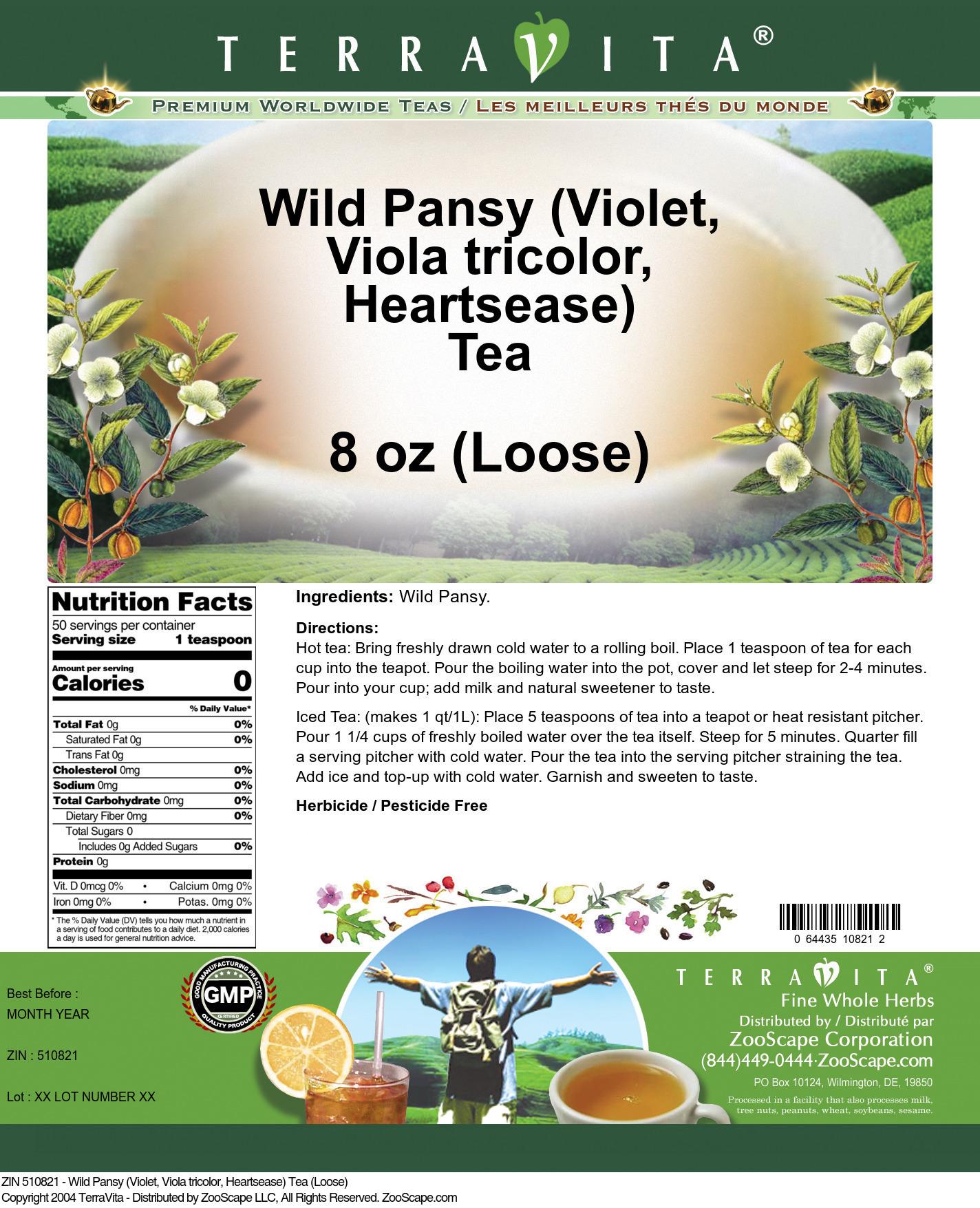Wild Pansy (Violet, Viola tricolor, Heartsease) Tea (Loose)